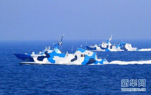 中国军队东海演习出动8艘022导弹艇 可荫蔽进犯